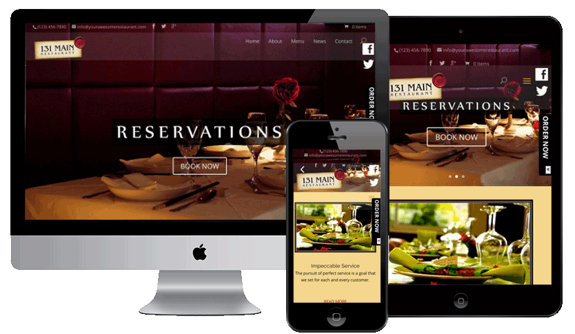 Web5000 | Responsive restaurant website with full width video, menu ordering, social media integration and powerful SEO built in